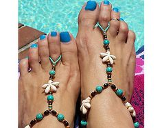 Barefoot sandals boho hippie turquoise tibetan by VirJewelry