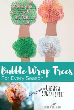 Make a bubble wrap tree for every seasons. season craft - suncatcher - painted bubble wrap