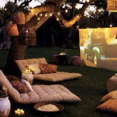 Ultimate Garden Party..Hook your laptop or iPhone up to a projector and show your special moments to your friends and family. Recreate the scene with throws, pillows and rugs. Crack open our cookies & corks sparkling pairing box have a bubbling good time