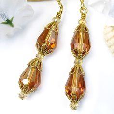 Topaz Crystal Teardrop Dangle Earrings Sparkly Handmade Beaded Jewelry | PrettyGonzo - Jewelry on ArtFire
