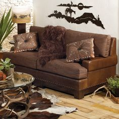 Love the sofa and the rug...not the wall or the antler table :)