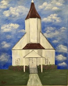 Country Church Painting. Acrylic On 8x10 Stretched Canvas  | eBay