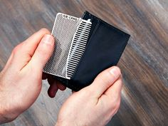 The Go Comb is a modern credit-card sized grooming accessory designed to fit in your wallet and travel with you when you need it.