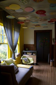 Lorena David Nursery Hoops - Oh what a fun ceiling treatment!