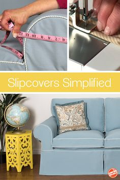 Sew custom slipcovers that fit so well, everyone will think it's new upholstery. Learn techniques for pin-fitting, sewing cord, conquering curves, adding closures and more. Furniture Fix, Reupholster Furniture, Furniture Covers, Furniture Upholstery, Upholstery Fabrics, Coaster Furniture, Diy Sofa Cover, Couch Covers, Headboard Cover