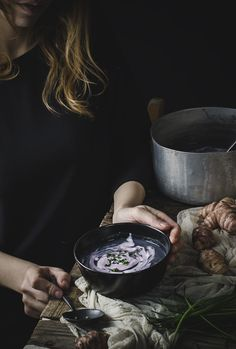 Jesuralem artichoke and purple cauliflower soup