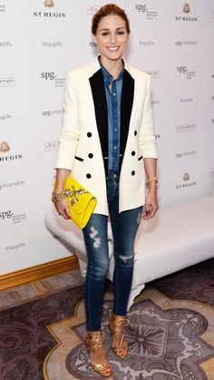 We love the way Olivia Palermo paired a white tuxedo jacket over her distressed denim-on-denim look. Style Olivia Palermo, Olivia Palermo Lookbook, Looks Chic, Looks Style, 30 Outfits, Stylish Outfits, Fashion Week, Look Fashion, Fashion Photo