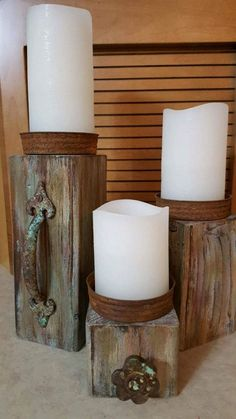 Recycled Wood Projects Home Decor Candle Holders 63 Ideas For 2019 4x4 Wood Crafts, Barn Wood Projects, Diy Projects, Diy Crafts, Upcycled Crafts, Rustic Candle Holders, Rustic Candles, Diy Candles, Ideas Candles