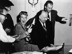 "Alfred Hitchcock clowning around with Doris Day & James Stewart on the set of ""The Man Who Knew Too Much""."