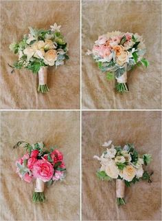 Mismatched bouquets for the bridesmaids