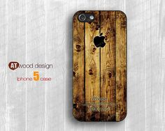 NEW iphone 5 case iphone 5 cover brown old wood texture Iphone Logo design printing atwoodting design. $14.99, via Etsy.