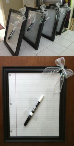 DIY PROJECT: Picture Frame + Paper + Dry Erase Marker + Bow = Personal Desk Top Dry Erase Board Gift for Teacher