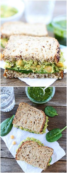 Smashed Chickpea, Avocado, and Pesto Salad Sandwich Recipe on twopeasandtheirpod.com  This healthy sandwich is easy to make and great for lunch or dinner!