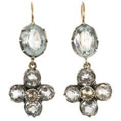 Aquamarine Paste and Gold Georgian Earrings