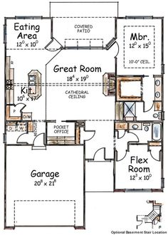 Two Bedroom House Plan With Options   Floor Plan   Main Level