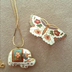 butterfly scarf holder & elephant necklace! adorable vintage pieces with enamel detailing. Vintage Jewelry Necklaces