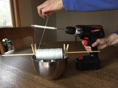 Fast and easy way of winding my bobbins for Weaving. I bought a cordless variable speed drill under $20 . At Harbor Freight. I insert a copper rod or tubing that fit my different bobbins. If the bobbins tend to slip just bend the rod slightly. WORKS GREAT!!!