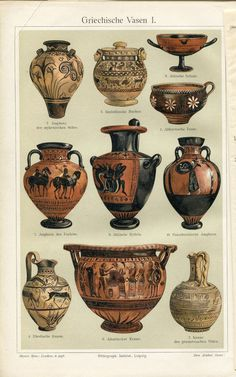 Ancient Greek vases, chromolithograph, c. 1890.