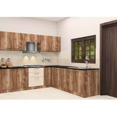 Uniquely crafted L-Shaped kitchen made up of plywood with laminate finish. Consisting middle cabinet, bottom cabinet, chest of drawers to fit in kitchen essentials in an organized manner. Spend your pleasurable moment with a lovely kitchen like this and make your entire home look graceful. Other accessories like baskets will be charged extra.