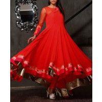 Lust Red Anarkali Suit with Floral Applique