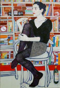 Gangloff's Pretty Portraits of Modern Life Hope Gangloff - Vio et Livres - Acrylic on canvas.Hope Gangloff - Vio et Livres - Acrylic on canvas. Illustrations, Art And Illustration, Figure Painting, Painting & Drawing, Figure Drawing, Hope Gangloff, Art Graphique, Art Design, Figurative Art