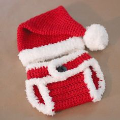 Repeat Crafter Me: Crocheted Santa Hat and Tussie Cover free pattern