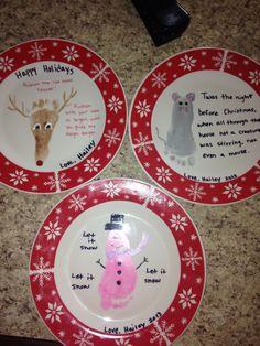 Foot print Christmas plates!