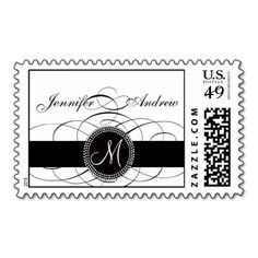 Elegant Monogram Postage Stamp for Weddings - Swirls Elegant Black and White Wedding Postage is perfect for any Wedding Invitation Card or Save the Date Announvcement. Wedding Postage Design by Elke Clarke ©2011 #wedding #monogram #monograms #monogram #m #ribbon #initial #initials #initial #m #love #postage #rsvp #invitation #weddings #elegant #swirl #swirls #black #white #traditional #victorian #script #save #the #date #celebrate #bride #groom #wedding #date #postage #stamps