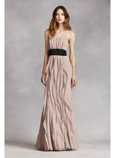 bf696dc4b8dd $70 david's bridal - Strapless Crinkle Chiffon Dress with Mikado Sash  VW360102 Chiffon Dress, Strapless