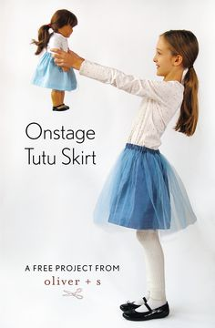 Just in time for last-minute holiday sewing, here's a free pattern for a quick and fun skirt that can be made for a girl and her doll. via oliver+s