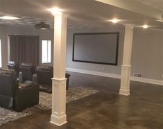Square, Wood HALF Paneled Column I Elite Trimworks #basementremodel