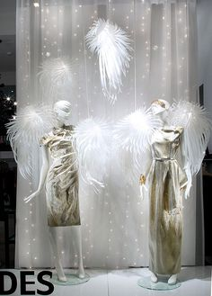 """Stunning! Christmas """"Fashion Angels"""" by Jades showing our new Silhouette Collection #vm #retail #visualmerchandising #mannequins  Store : JADES / Heinrich-Heine-Allee 53 / 40213 Düsseldorf Conzept: sayonara visual concepts / Domagoj Mrsic Wings: Icarus by Tord Boontje for Artecnica Mannequins: GENESIS MANNEQUINS, Range """"Silhouette"""" Photos: Uschi Fellner  http://www.genesis-display.com/en/collection/850/Silhouette"""