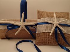 Tropical Beach Flower Girl Basket & Ring Bearer Pillow, Beach Wedding  - Starfish - Hawaii -Blue - Beach - Burlap Shabby Chic