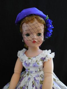 LOVELY-CISSY IN VINTAGE POLISHED COTTON W/PURPLE ROSES W/HAT & BAG