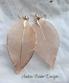 Leaves. Real leaves dipped in copper metal, copper metal nature inspired jewelry