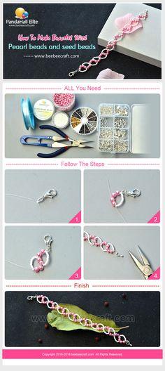 PandahallElite show u How to make bracelet with pearl beads and seed beads.