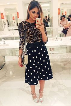 22 Polka Dot Outfits To Look Cool And Fashionable - Fashion New Trends Leopard Print Outfits, Animal Print Outfits, Animal Print Fashion, Fashion Prints, Work Fashion, Modest Fashion, Fashion Outfits, Fashion Fashion, Muster Mix Outfits