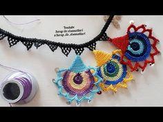 Efe kolye yapımı tüm aşamalarıyla ❤❤ dantelanglez tigoyasi igneoyasi tekniği - YouTube Tatting Patterns, Crochet Flowers, Crochet Lace, Paper Flower Tutorial, Crochet Bear, Freeform Crochet, Crochet Videos, Chain Stitch, Ornaments