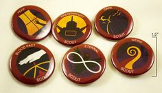 Night Vale Boy Scouts Buttons, from Welcome to Night Vale. Designed by Kate Leth.