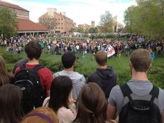 """""""Boo"""" and """"Go home"""" being shouted from the crowds by Duane and Baker. (Photo credit: Robert R. Denton) #cu420"""