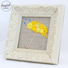 CUSTOM Framed Button Art, Umbrella Wall Art, Mudroom Decor, Umbrella Wall…