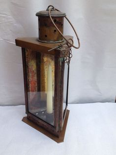 15in tall (excluding loop) Antique Brass Triangle Candle Barn Lantern Paul Revere