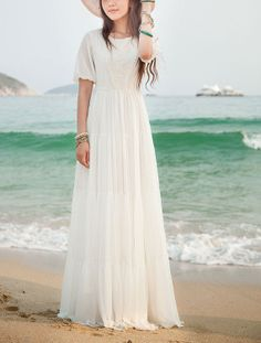 White Maxi Dress with Lace Details - Short Sleeve Maxi Dress - White Chiffon Maxi Dress