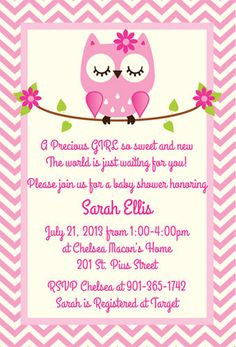 Owl Baby Shower Ideas | Girl, Pink, Gray, Chevron | PERSONALIZED ...