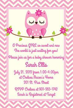 Baby Girl Owl Shower Invitation / Printable Owl Baby Shower ...
