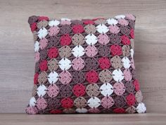 Accent white beige pink red brown multicolor granny square crochet acrylic decorative pillow case 17x17 (43 x 43 cm), $53 https://www.etsy.com/listing/271598509/accent-multicolor-decorative-granny
