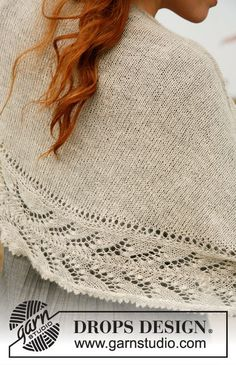 Knitted DROPS shawl with lace pattern in Lace.
