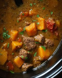 Made this Slow Cooker Beef and Kabocha Squash Stew from @giadadelaurentiis new cookbook, Happy Cooking. This was really good! You could also make it with butternut.  http://www.skinnytaste.com/2015/11/slow-cooker-beef-and-kabocha-squash-stew.html  #slowcooker #crockpot #stew #weightwatchers #glutenfree