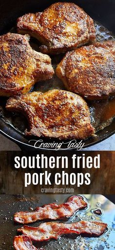Southern Fried Pork Chops ridiculously delicious These pork chops are seasoned with basic spices dredged in flour and panfried in bacon fat for the ultimate flavor and t. Best Pork Chop Recipe, Easy Pork Chop Recipes, Healthy Recipes, Pork Recipes, Cooking Recipes, Fried Porkchops Recipes, Cooking Tips, Pork Chop Meals, Pork Chop Dinner