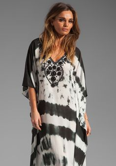 KARINA GRIMALDI Nassau Long Caftan in Black and White Tie Dye